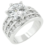 Classic Engagement Ring in Silvertone