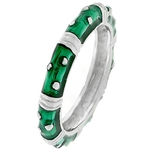 Dark Green Enamel Stacker Ring
