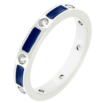 Blue Enamel Fashion Ring