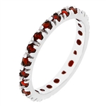 Ruby Red Cubic Zirconia Eternity Ring