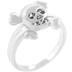 Skull and Cross Bone Silvertone Ring