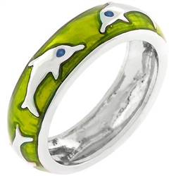 Green Apple Dolphin Ring