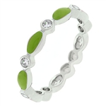 Lime Green Link Enamel Stacker Ring