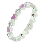 Pink Enamel Hearts Eternity Band