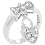 Heart Locked Ribbon Ring