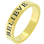 Believe Ring in Goldtone