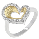 Two Toned Heart Ring with Accents