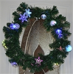 High Quality Pre Lit Christmas Wreath Holiday Mulit-color Fiber Light Decorations