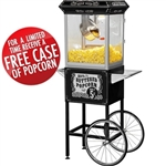 Brand New Full Size Carnival Style 8oz Hot Oil Popcorn Machine w/ Cart