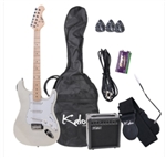 "Full Size 39"" Electric Guitar Pack in White Finish"