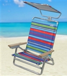 2 Beach Chairs w/ Canopy & Full Recline