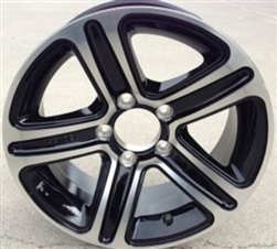 "15"" Aluminum Type T09 Silver and Black 5 Spoke Trailer Wheel"