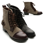 Military Back Buckle Low Heel Ankle Boots