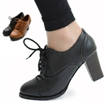 Oxford Classic Chic Lace Up High Chunky Heel