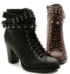Military Lace Up Chunky High Heel Metal Stud Ankle Boots