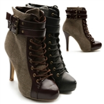 Winter Lace Ups Military Ankle Boots Buckle High Heels