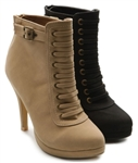 Faux Suede Platform Lace Up High Heel Ankle Boots