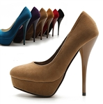 Suede Platform Stiletto Classic High Heel Pumps