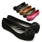 Ballet Low Heel Flat Loafers w/Cute Pluffy Accents