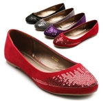 Faux Suede Sequence Ballet Flat Loafers