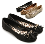 Ballet Low Heel Flat Loafers w/Cute Tassels Accents
