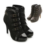 Faux Suede Fashion High Heel Buckle Ankle Boots