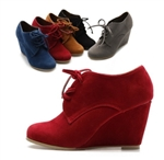 Faux Suede Wedge Platform Heel Fashion Ankle Boots