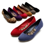 Faux Suede Low Heel Ballet Flat Loafers