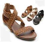 Cross Braided Flat Sandals