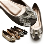 Ballet Flat Loafers w/Cute Rhinestone Bow Ribbon