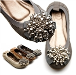 Ballet Flat Loafers w/ Silver Bead Accents