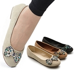 Ballet Low Heel Flat Loafers w/Cute RhineStone Bows
