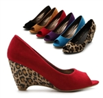 Faux Suede Wedge Mid Heel Open Toe Pumps