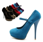 Faux Suede Mary Jane Platform Classic High Heels