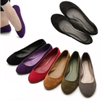 Faux Suede Ballet Flat Loafer Slip Cute Comfy