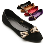 Ballet Low Heel Flat Loafers w/Cute Leopard Ribbons