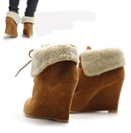 Faux Fur Suede Ankle Vintage Lace Up Boots Wedges(Brown)