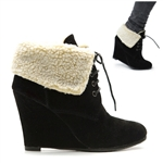 Faux Fur Suede Ankle Vintage Lace Up Boots Wedges