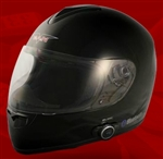 Adult Glossy Black Full Face Motorcycle Helmet with Bluetooth (DOT Approved)