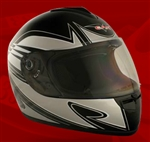 Adult Spartan Silver Full Face Motorcycle Helmet (DOT Approved)