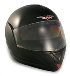 Adult Glossy Black Flip Up Motorcycle Helmet (DOT Approved)