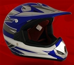 Youth Blue Matte Motocross Helmet (DOT Approved)