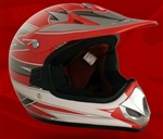 Youth Red Glossy Motocross Helmet (DOT Approved)