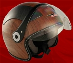 Adult Wood Open Face Motorcycle Helmet (DOT Approved)