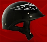 Adult Dark Angel Black Half Helmet Cruising Helmet (DOT Approved)