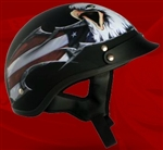 Adult USA Flat Black Half Helmet Cruising Helmet (DOT Approved)