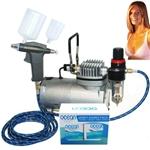 Professional Sunless Spray Tanning Airbrush System with Solution Sampler Pack