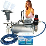 Professional Sunless Tanning Dual Airbrush Spray Tan System with Solution Variety Pack