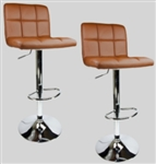 2 Mocha Swivel Leather Modern Adjustable Hydraulic Bar Stools
