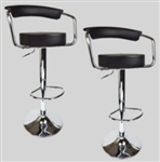 2 New Black Bombo Chair Swivel Seat Pub Bar Stools Bar Stools With Leather Seats